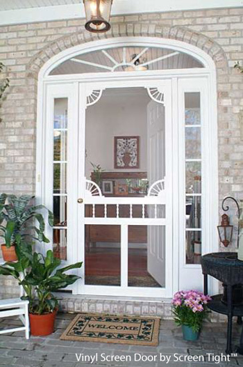 An exterior screen door brings the outside in for Screened front entry