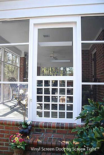 vinyl screen door with square pattern