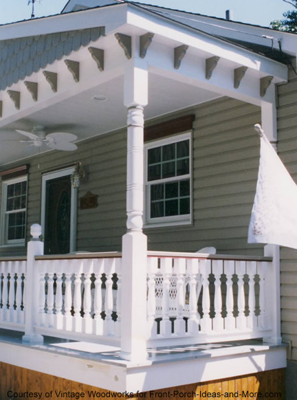 cornice brackets under front porch eaves