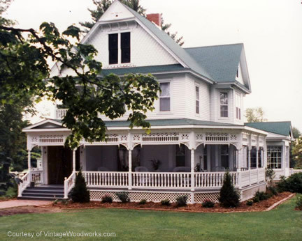 two story white home with exterior trim from Vintage Woodworks