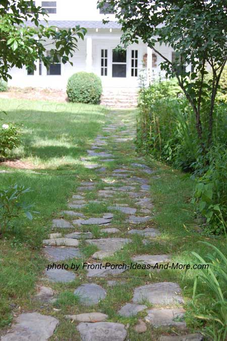 natural stepping stone walkway on grass