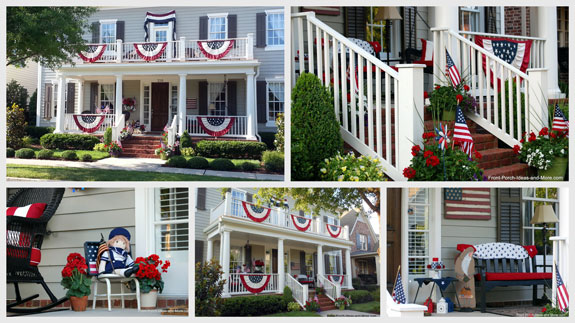 collage of front porches decorated for the 4th of July