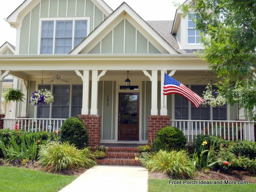 front porch with outdoor fans