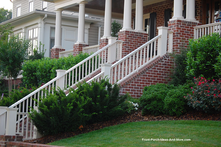 Beautiful continuous stair railing on front porch