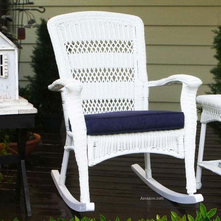 white wicker rocking chair on front porch