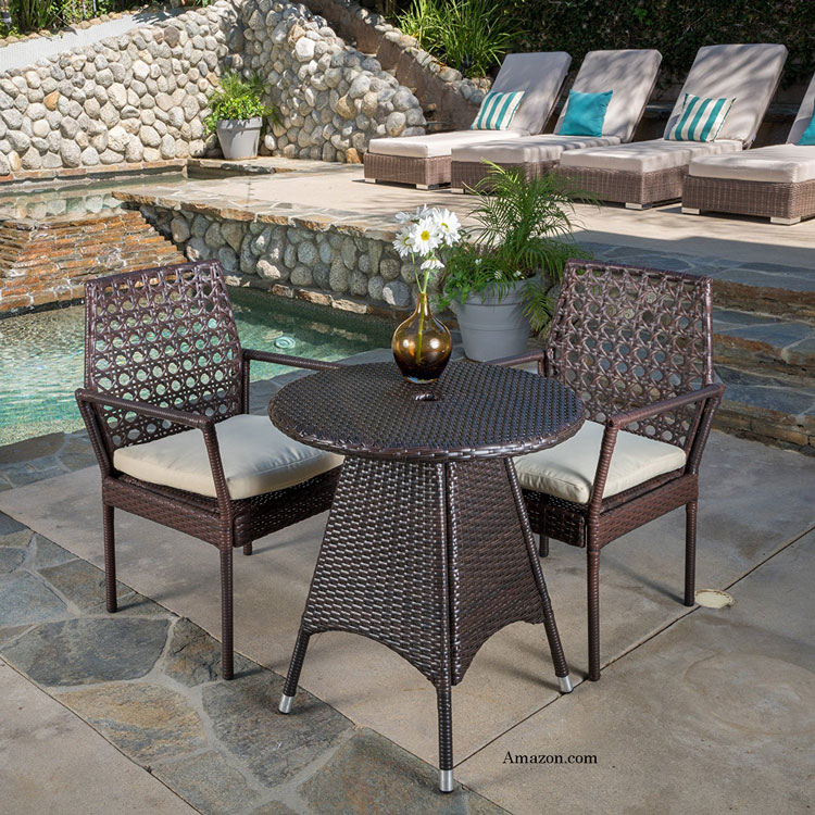Inspirational Brown wicker bistro table available at Amazon affiliate This all weather