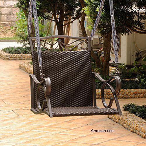 Resin Wicker Valencia Single Porch Swing Chair