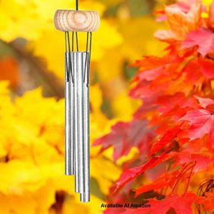 wind chimes against fall foliage