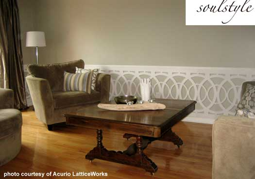lattice panels used as wainscoting