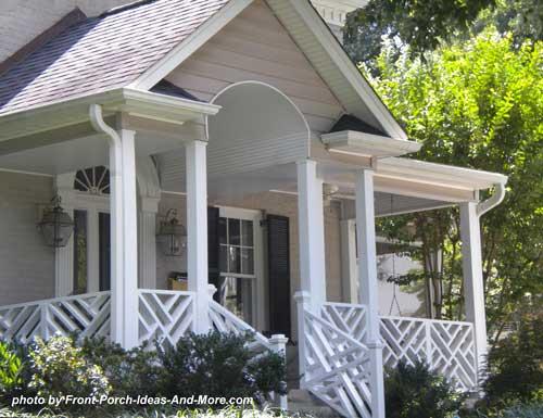 herring bone railing design on porch
