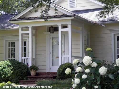 unique column design on a small porch