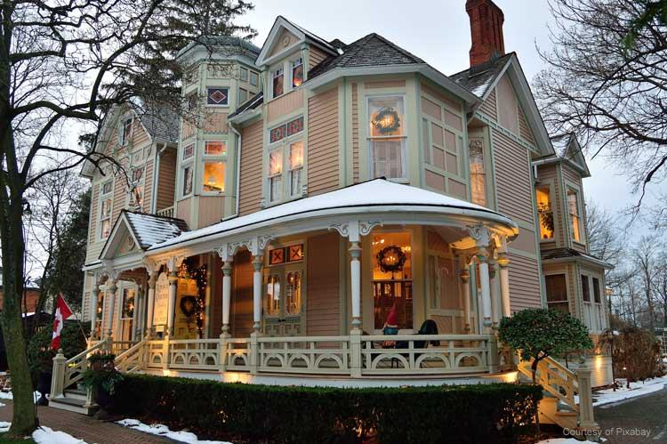 beautiful Victorian home in the winter