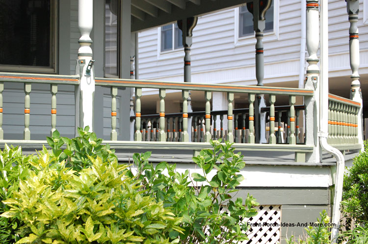 painted wood deck railngs on front porch