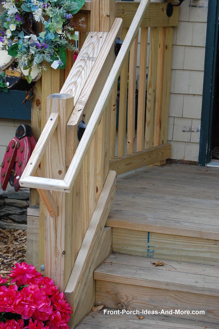 Stair hand rails porch hand rails deck hand rails simple wooden hand rail next to top rail baanklon Images
