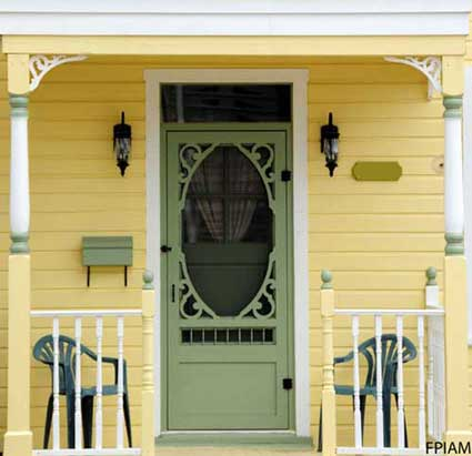 Light green wood screen door - vintage style