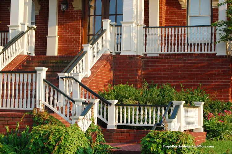 Beautiful turned stair hand rails on brick home