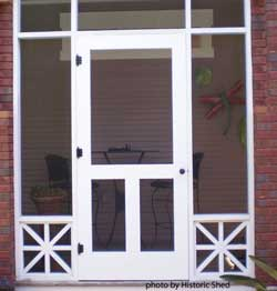white screen door on screened porch