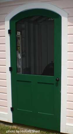Green wood screen door