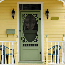 vintage yellow screen door