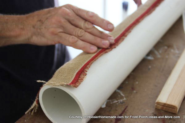 wrapping the pvc with americana-style burlap