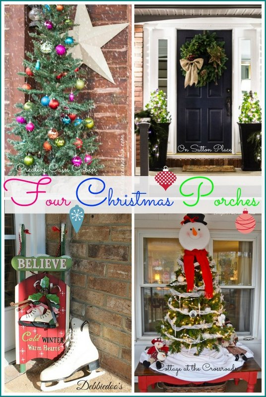 Four Christmas porches