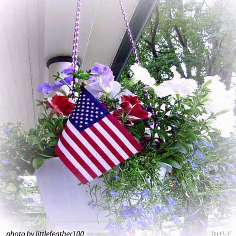 American flag in pretty hanging basket