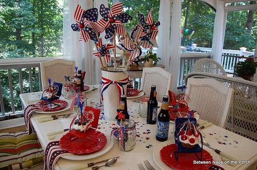 Americana style 4th of July homemade firecracker decorations