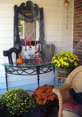 Halloween candelbra and mirror on porch