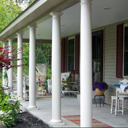 country front porch addition with round columns