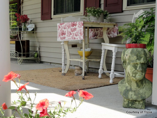 an old heirloom table on porch