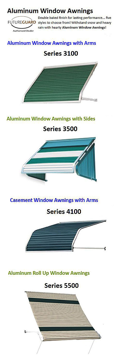 aluminum awning options from ScreenHousesUnlimited.com