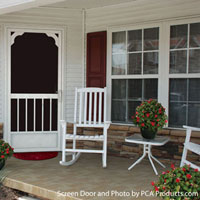 porch skirting with maple leaf design
