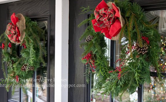 Anita's double front doors decorated with wreaths