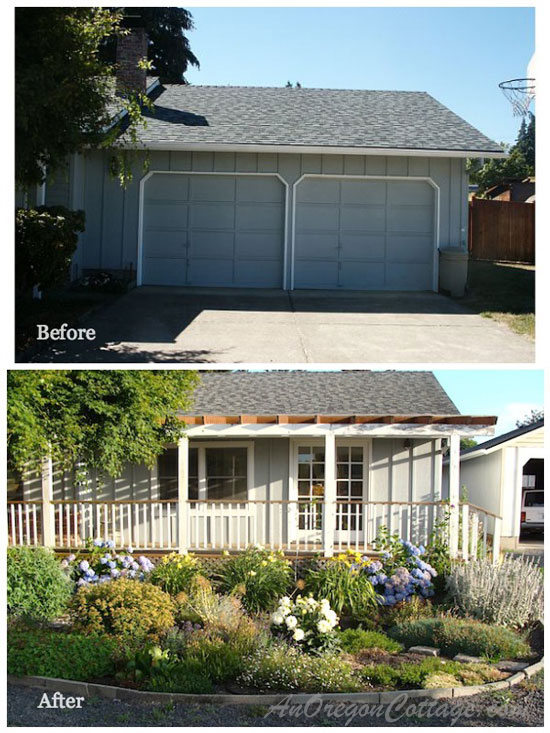Jami's home before with garage and after with extended living space and porch