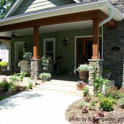 fully decorated craftsman style front porch