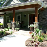 Farmhouse With Red Craftsman Style Front Porch