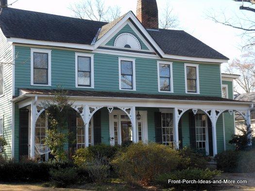 vintage front porch with column brackets