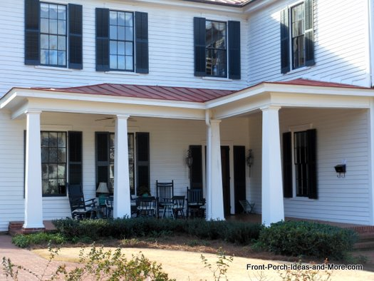 corner front porch with metal roof