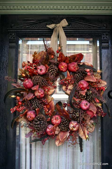 front door wreath with pomegranates