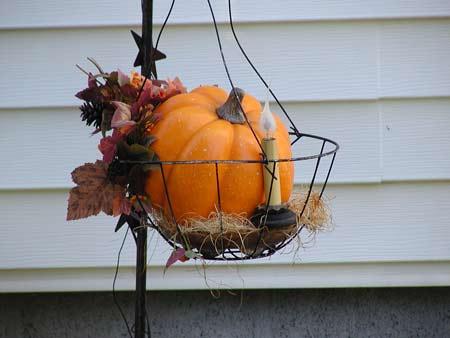 hanging basket with pumpkin