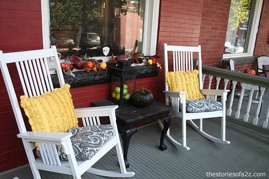 white rocking chairs and yellow cushions for fall