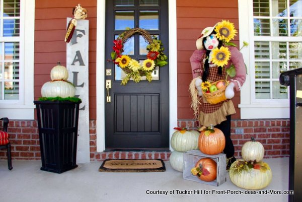front porch decorated for Thanksgiving
