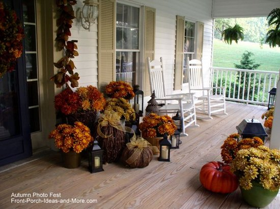 Denise's beautiful country porch ready for fall
