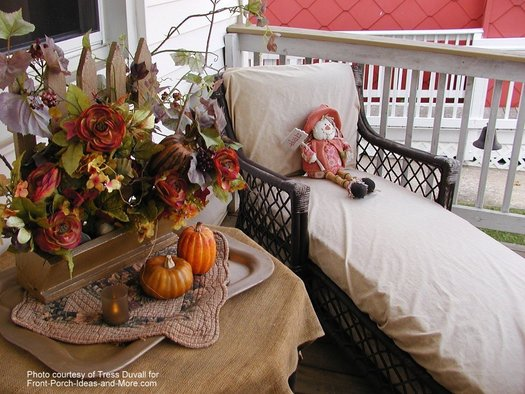 autumn tablescape and chaise