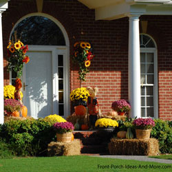 front porch with colorful autumn decorations