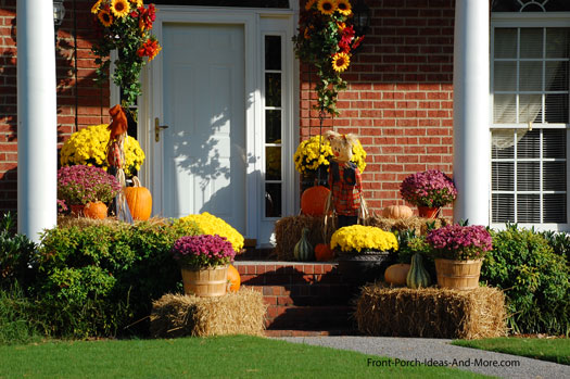colorful natural autumn decorations on front porch