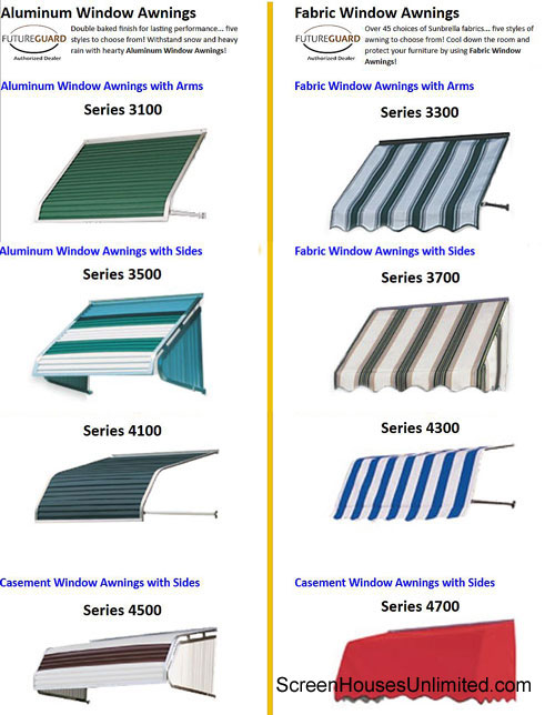 awning options from screenhousesunlimited.com