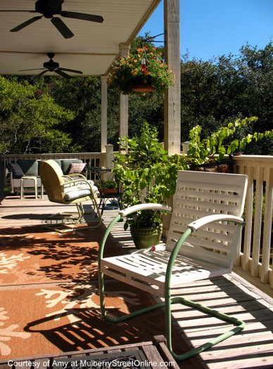 Vintage metal chairs on Amy's back porch