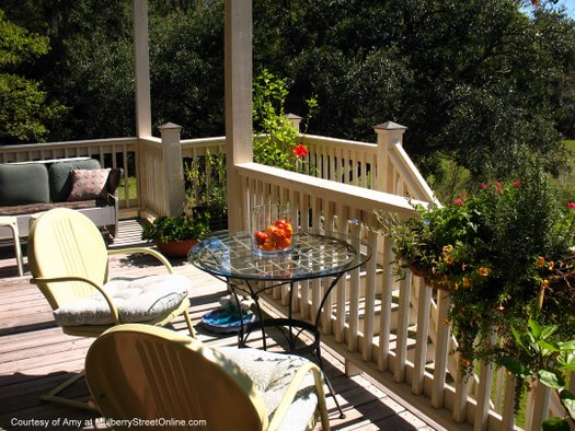 Beautiful table and chairs on Amy's back porch