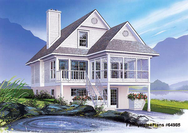 beach house plan with pleasant front porch